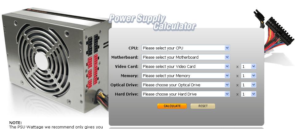 Zasilacz komputerowy - kalkulator mocy
